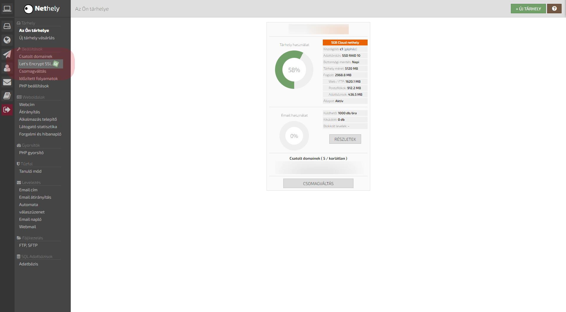 Tárhely nyitó képernyő