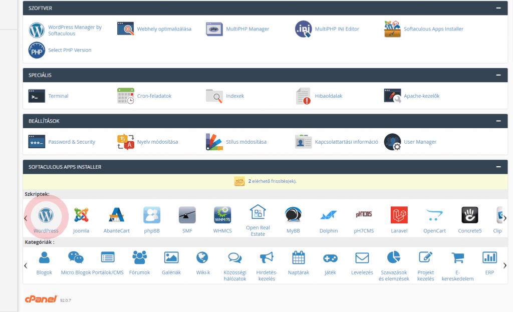 Wordpress alkalmazástelepítő kiválasztása