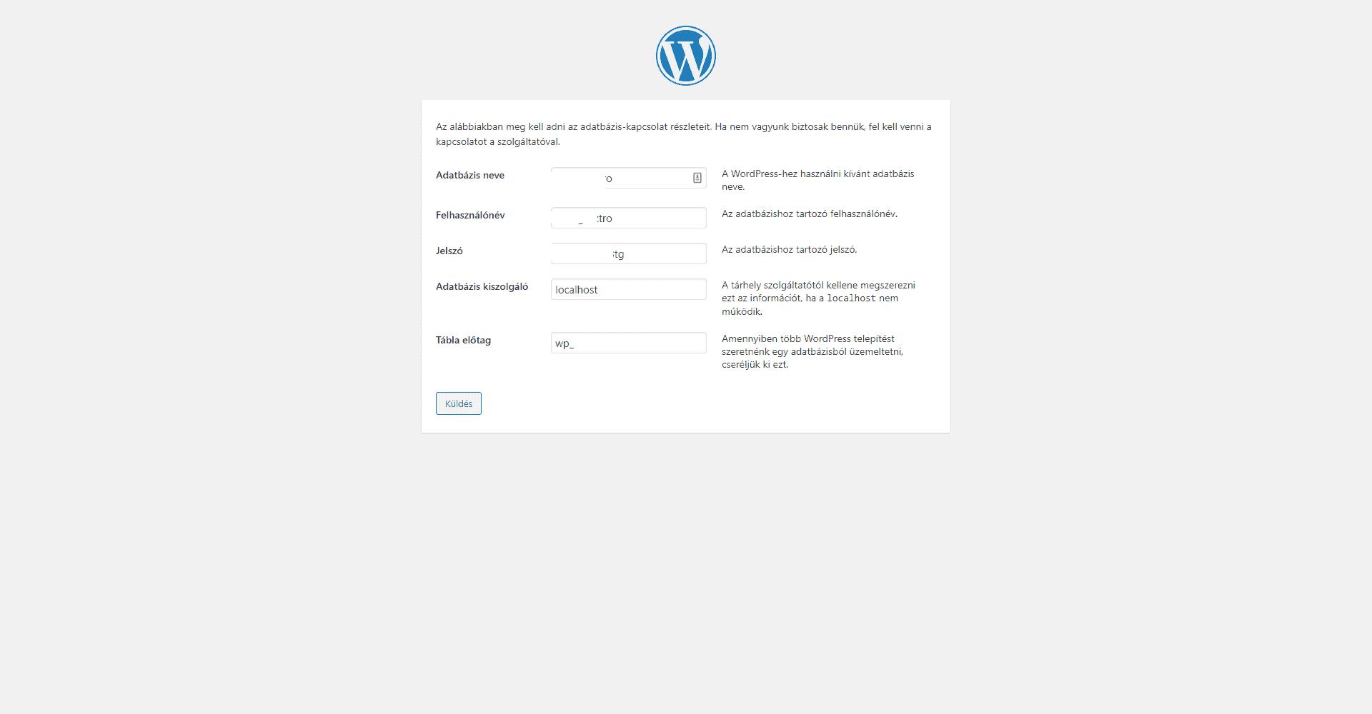 WordPress telepítés adatbázis kapcsolat megadása