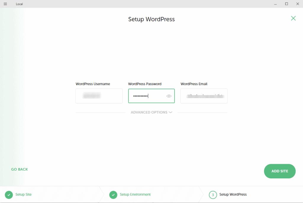 Wordpress telepítése sajátgépre felhasználói adatok