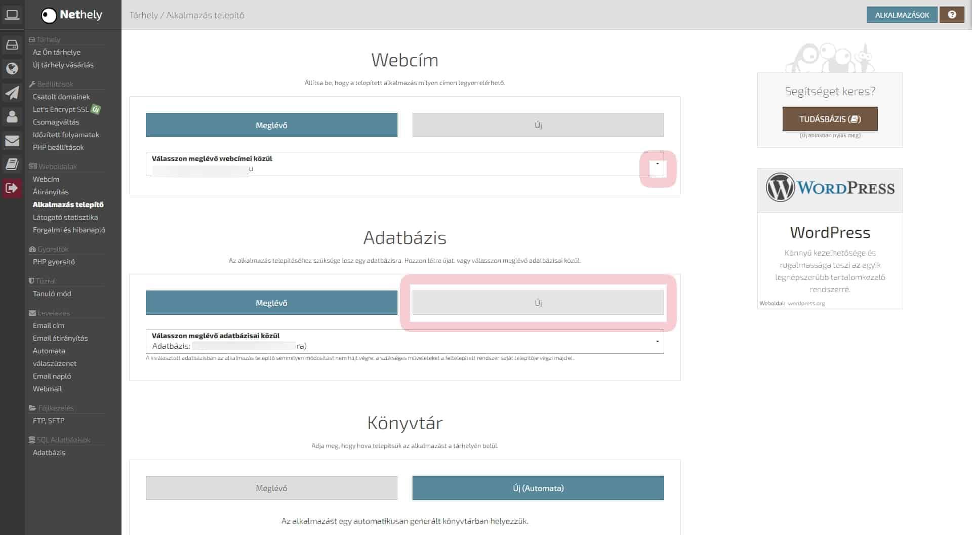 WordPress telepítése webcím beállítás