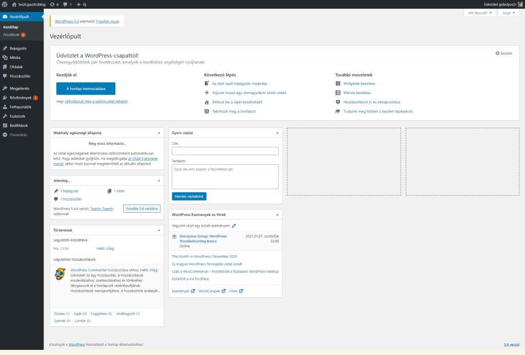 Wordpress admin felület